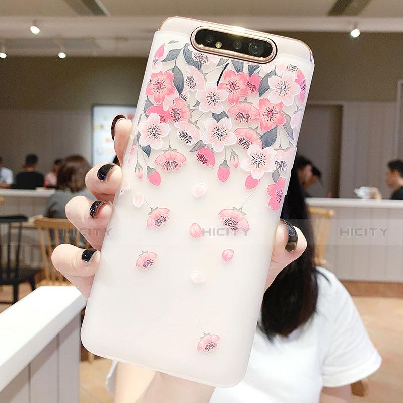 Samsung Galaxy A80用シリコンケース ソフトタッチラバー 花 カバー S01 サムスン ピンク