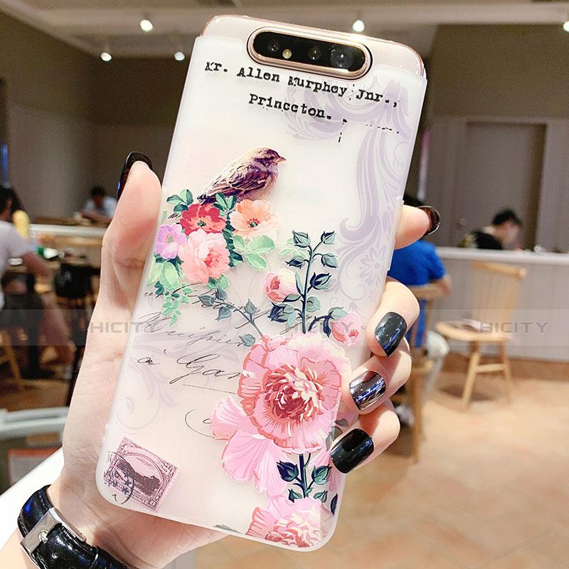 Samsung Galaxy A80用シリコンケース ソフトタッチラバー 花 カバー S02 サムスン ローズゴールド