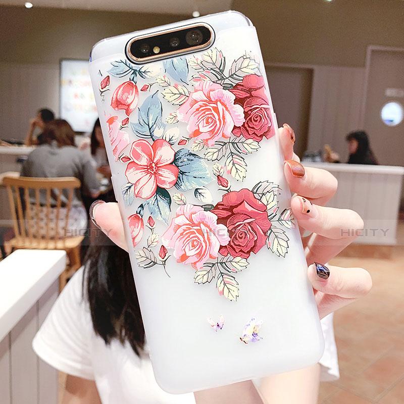 Samsung Galaxy A80用シリコンケース ソフトタッチラバー 花 カバー S05 サムスン マルチカラー