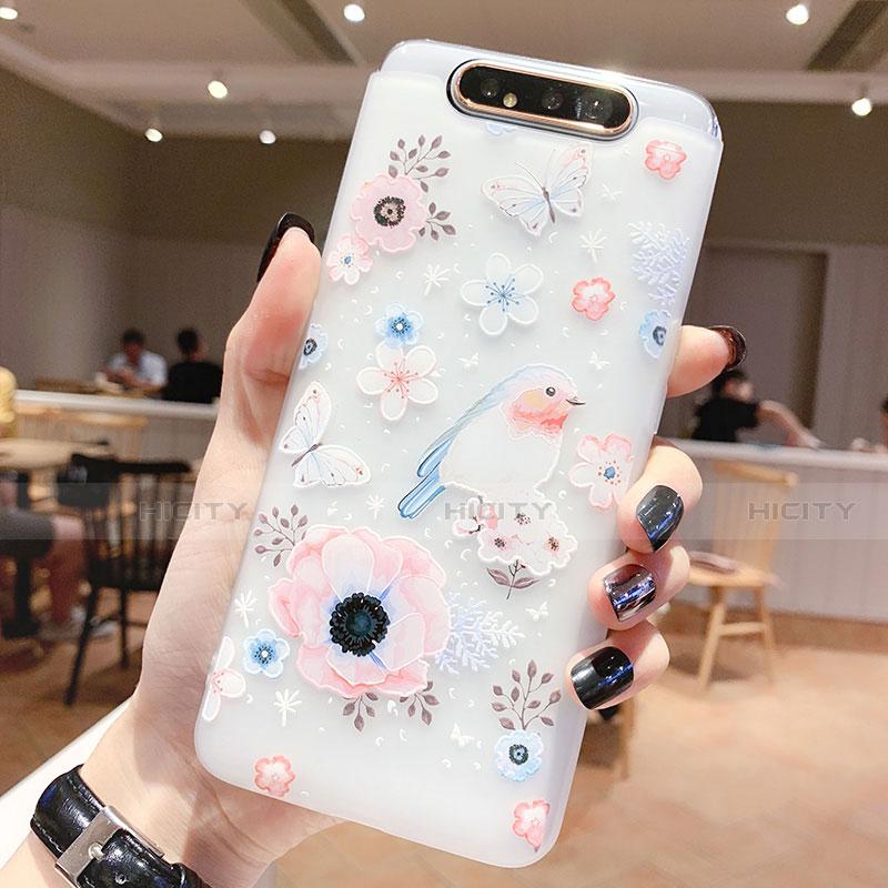 Samsung Galaxy A80用シリコンケース ソフトタッチラバー 花 カバー S01 サムスン