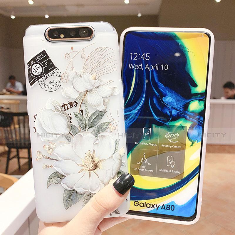 Samsung Galaxy A80用シリコンケース ソフトタッチラバー 花 カバー S02 サムスン