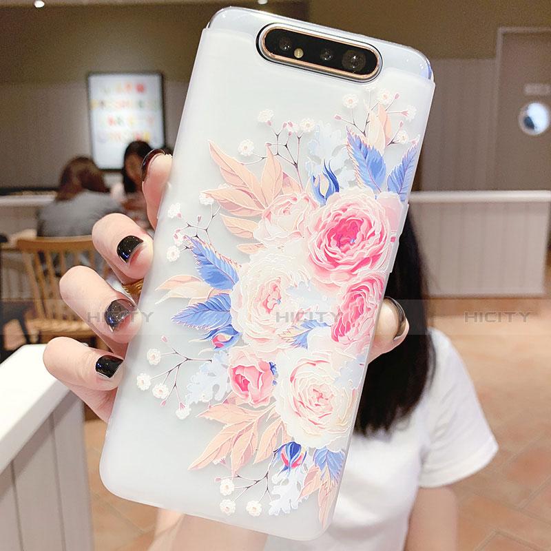 Samsung Galaxy A80用シリコンケース ソフトタッチラバー 花 カバー S03 サムスン