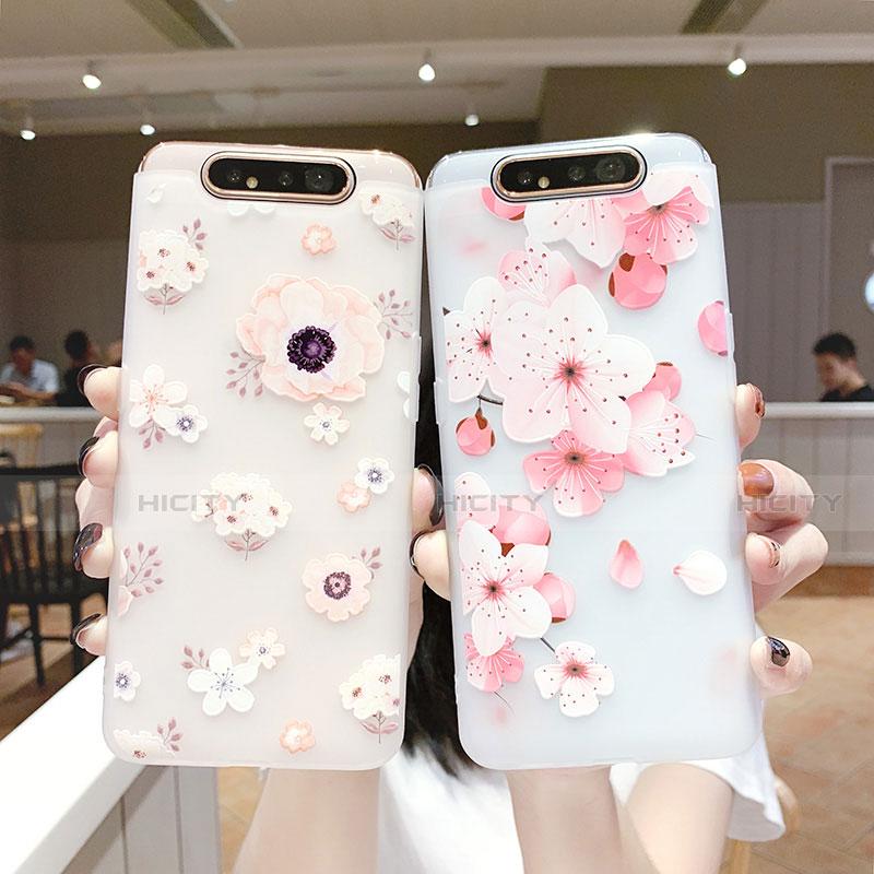 Samsung Galaxy A80用シリコンケース ソフトタッチラバー 花 カバー S04 サムスン