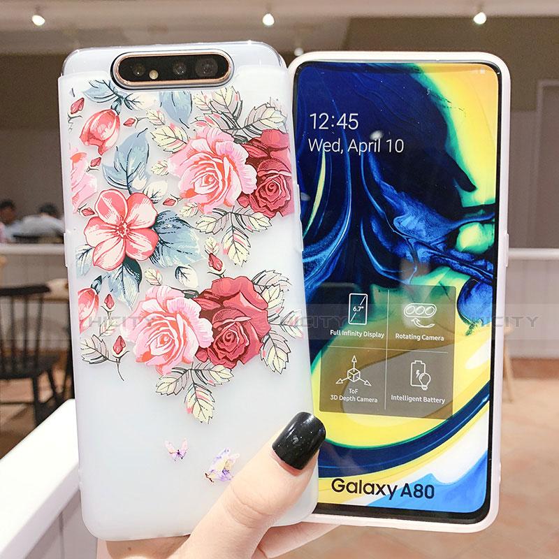 Samsung Galaxy A80用シリコンケース ソフトタッチラバー 花 カバー S05 サムスン