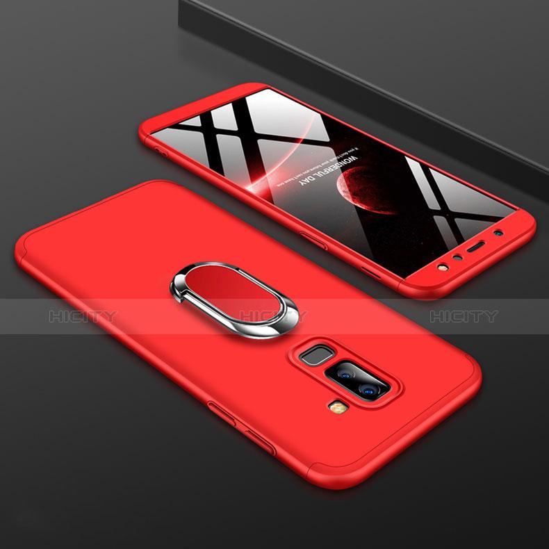 Samsung Galaxy A9 Star Lite用ハードケース プラスチック 質感もマット 前面と背面 360度 フルカバー アンド指輪 サムスン レッド