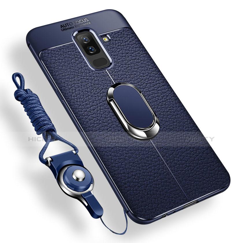 Samsung Galaxy A9 Star Lite用極薄ソフトケース シリコンケース 耐衝撃 全面保護 アンド指輪 マグネット式 バンパー サムスン ネイビー