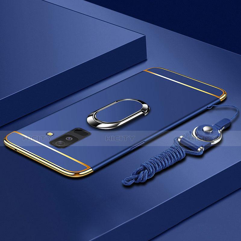 Samsung Galaxy A9 Star Lite用ケース 高級感 手触り良い メタル兼プラスチック バンパー アンド指輪 亦 ひも サムスン ネイビー