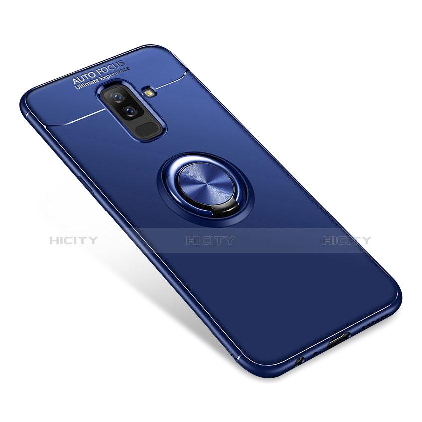 Samsung Galaxy A9 Star Lite用極薄ソフトケース シリコンケース 耐衝撃 全面保護 アンド指輪 バンパー サムスン ネイビー