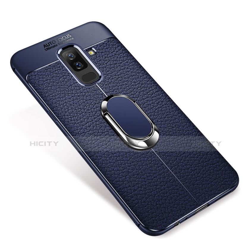 Samsung Galaxy A9 Star Lite用極薄ソフトケース シリコンケース 耐衝撃 全面保護 アンド指輪 マグネット式 バンパー S01 サムスン ネイビー