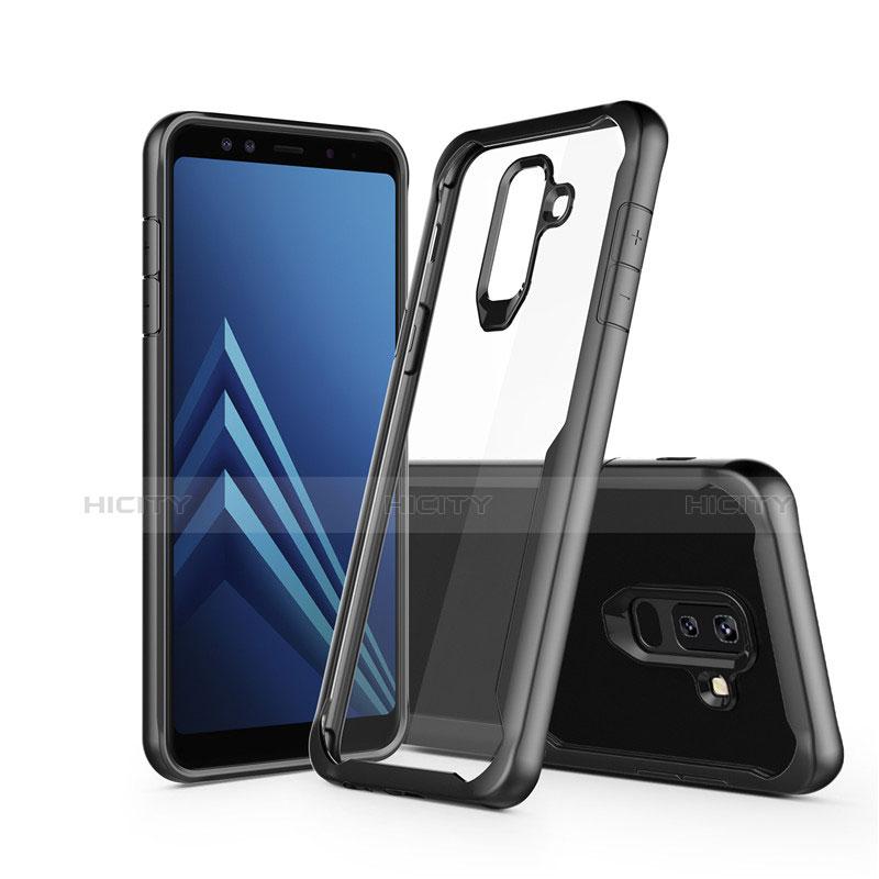 Samsung Galaxy A9 Star Lite用ハイブリットバンパーケース クリア透明 プラスチック 鏡面 サムスン ブラック