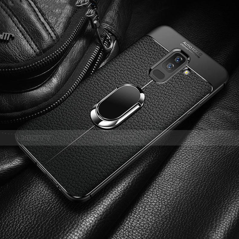 Samsung Galaxy A9 Star Lite用極薄ソフトケース シリコンケース 耐衝撃 全面保護 アンド指輪 マグネット式 サムスン ブラック