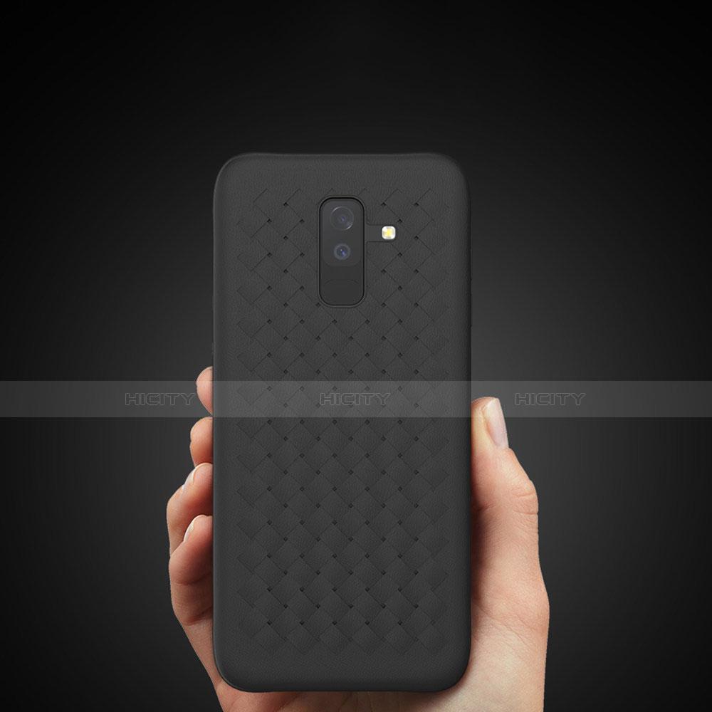 Samsung Galaxy A9 Star Lite用シリコンケース ソフトタッチラバー ツイル B02 サムスン ブラック