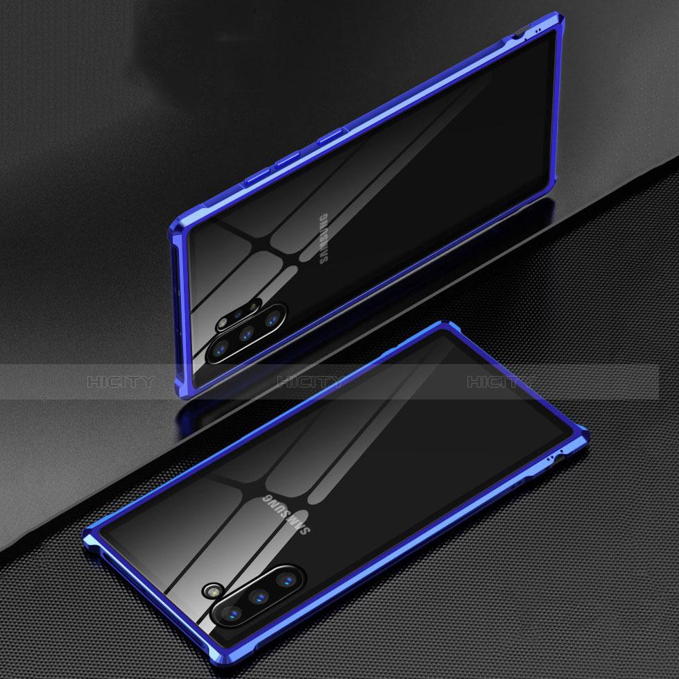 Samsung Galaxy Note 10 Plus 5G用ケース 高級感 手触り良い アルミメタル 製の金属製 360度 フルカバーバンパー 鏡面 カバー M01 サムスン