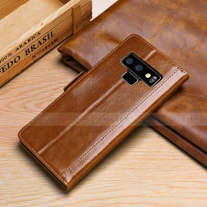 Samsung Galaxy Note 9用手帳型 レザーケース スタンド カバー P01 サムスン オレンジ