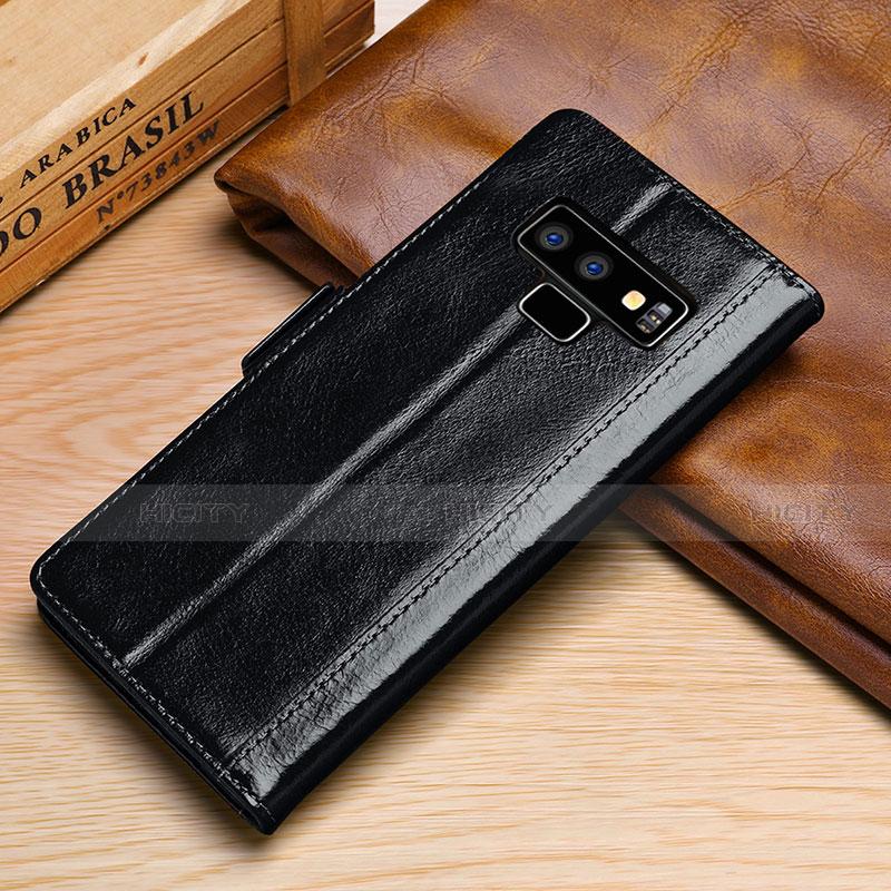 Samsung Galaxy Note 9用手帳型 レザーケース スタンド カバー P01 サムスン ブラック