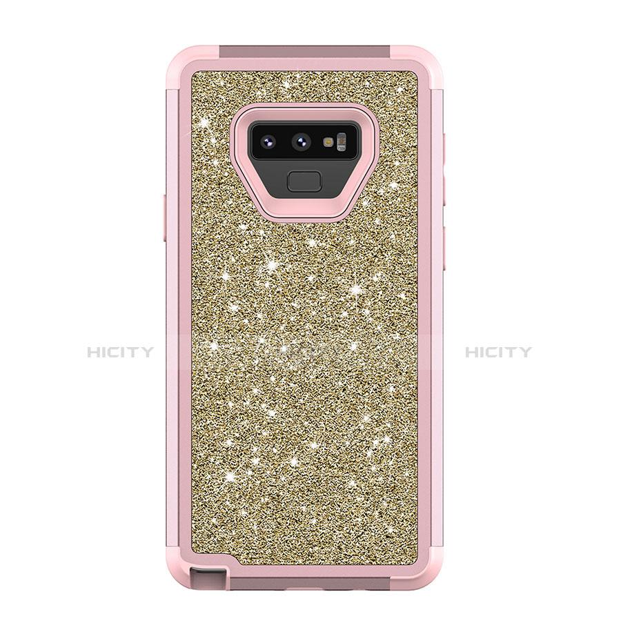 Samsung Galaxy Note 9用ハイブリットバンパーケース ブリンブリン カバー 前面と背面 360度 フル サムスン ピンク