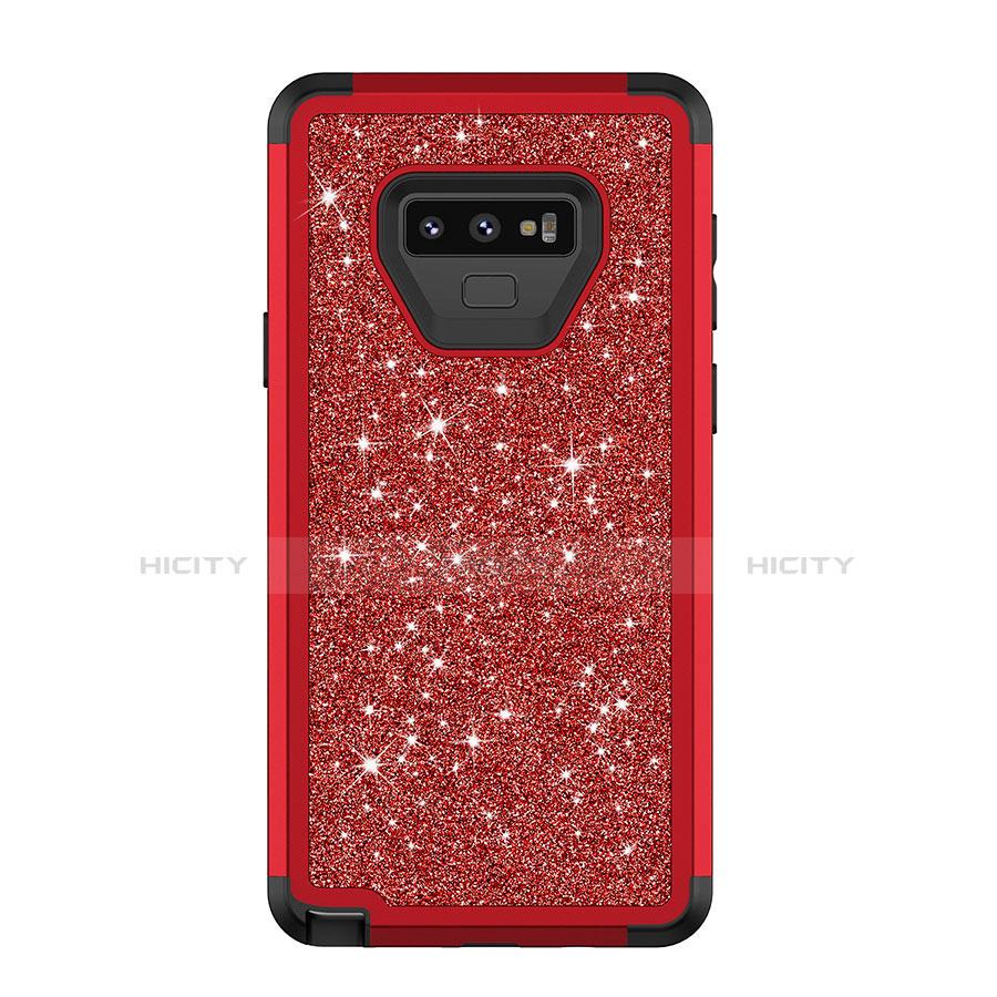 Samsung Galaxy Note 9用ハイブリットバンパーケース ブリンブリン カバー 前面と背面 360度 フル サムスン レッド
