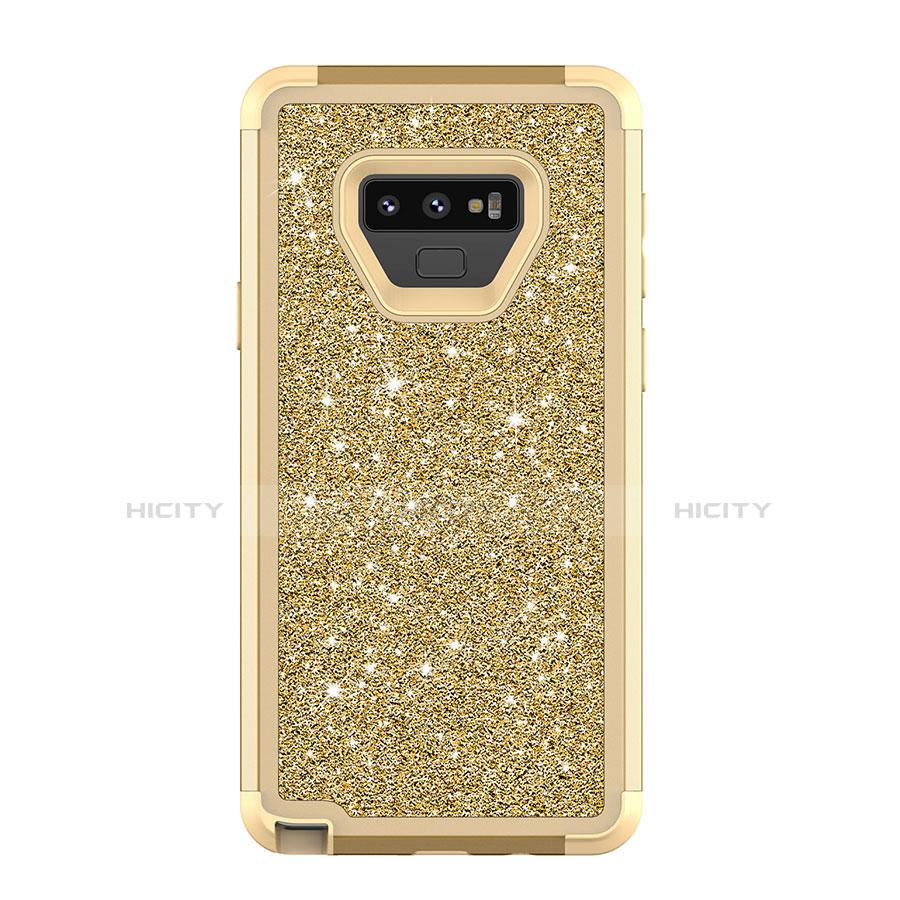 Samsung Galaxy Note 9用ハイブリットバンパーケース ブリンブリン カバー 前面と背面 360度 フル サムスン ゴールド