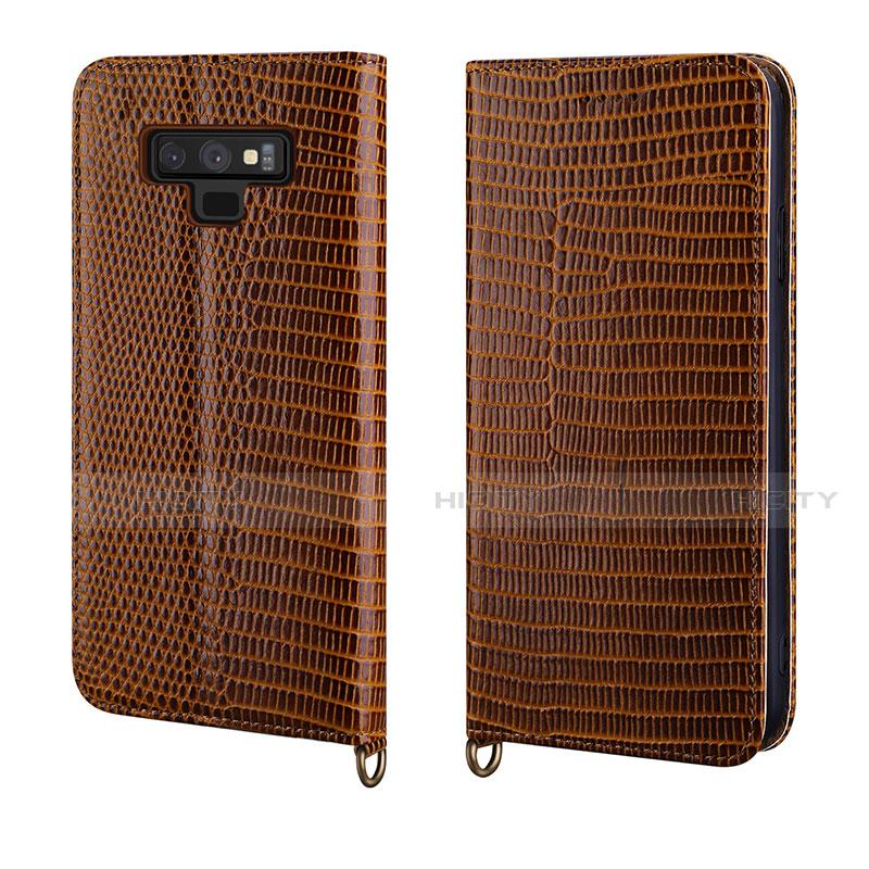Samsung Galaxy Note 9用手帳型 レザーケース スタンド カバー P04 サムスン ブラウン