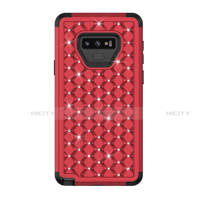 Samsung Galaxy Note 9用ハイブリットバンパーケース ブリンブリン カバー 前面と背面 360度 フル U01 サムスン レッド