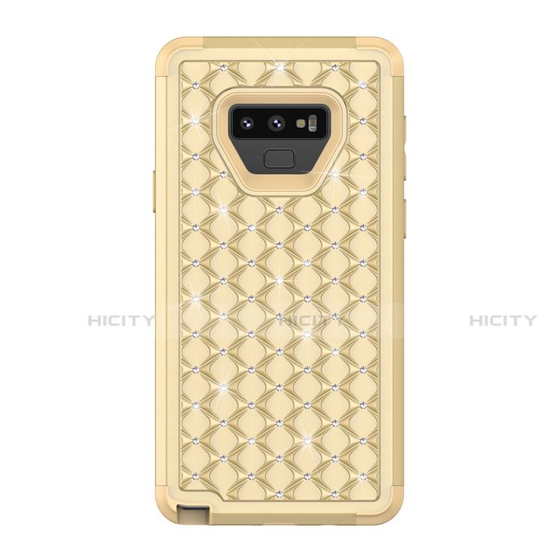 Samsung Galaxy Note 9用ハイブリットバンパーケース ブリンブリン カバー 前面と背面 360度 フル U01 サムスン ゴールド