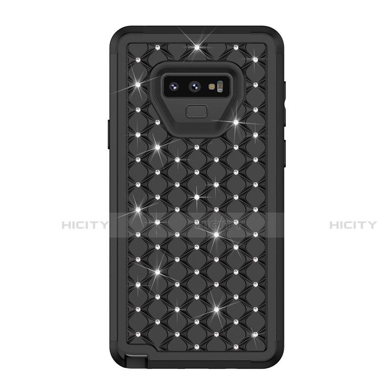 Samsung Galaxy Note 9用ハイブリットバンパーケース ブリンブリン カバー 前面と背面 360度 フル U01 サムスン ブラック