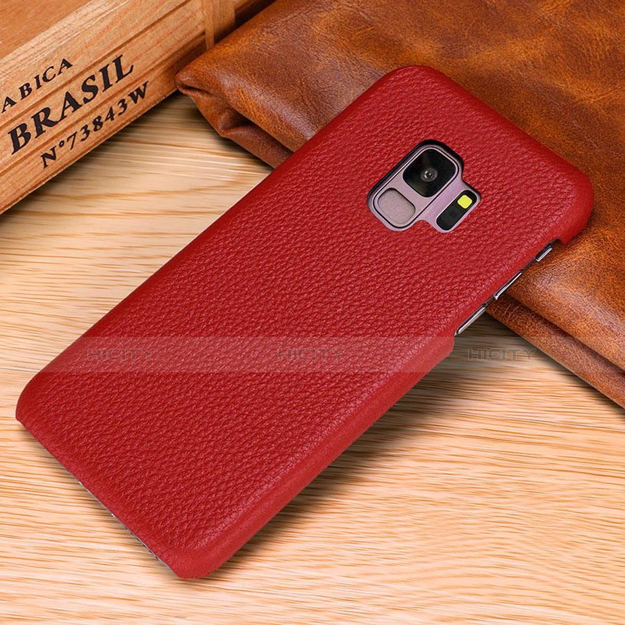 Samsung Galaxy S9用ケース 高級感 手触り良いレザー柄 P01 サムスン レッド