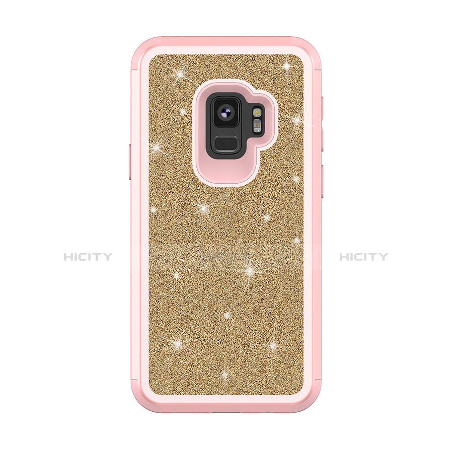 Samsung Galaxy S9用ハイブリットバンパーケース ブリンブリン カバー 前面と背面 360度 フル サムスン ピンク