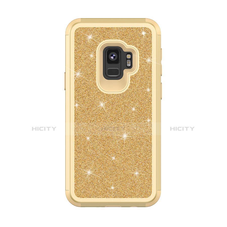 Samsung Galaxy S9用ハイブリットバンパーケース ブリンブリン カバー 前面と背面 360度 フル サムスン ゴールド