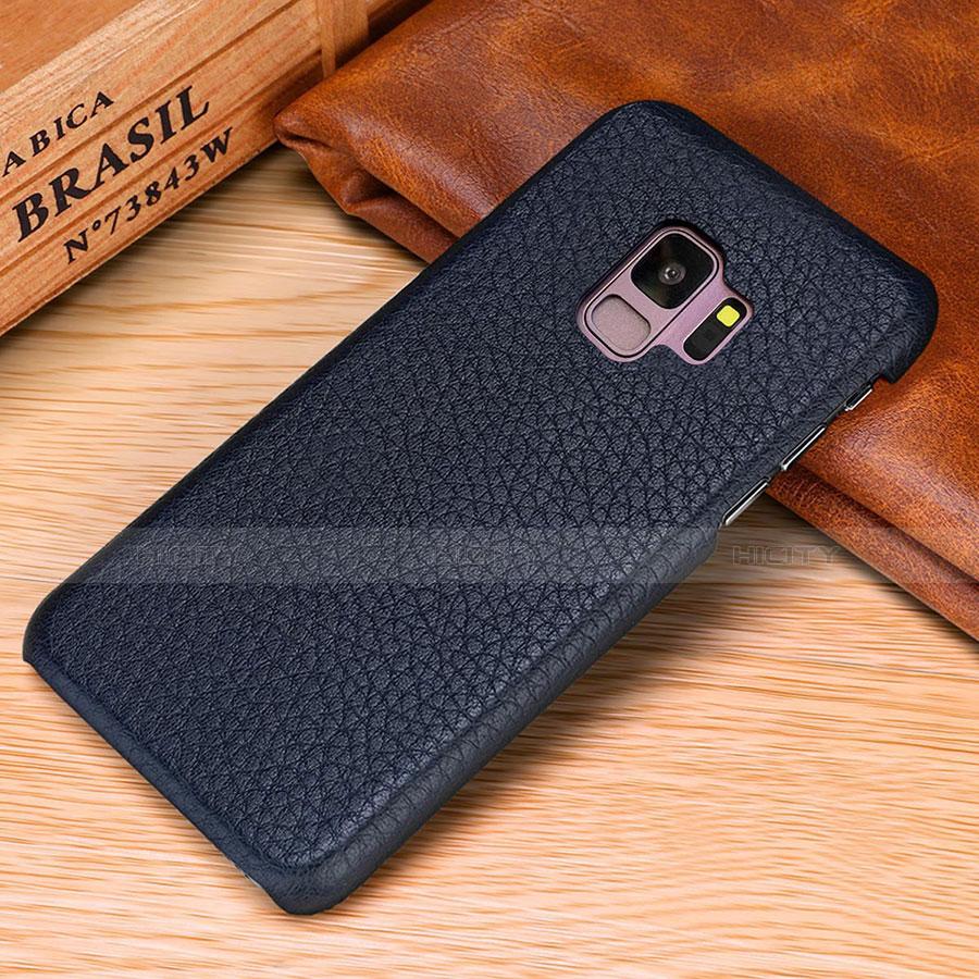 Samsung Galaxy S9 Plus用ケース 高級感 手触り良いレザー柄 P01 サムスン ネイビー