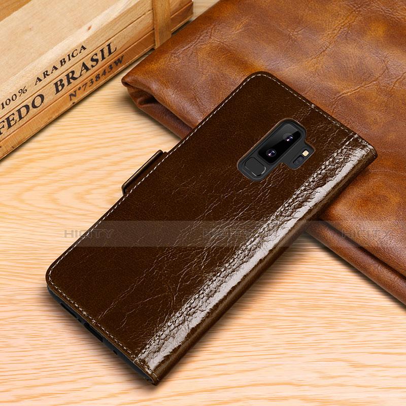 Samsung Galaxy S9 Plus用手帳型 レザーケース スタンド カバー P01 サムスン ブラウン