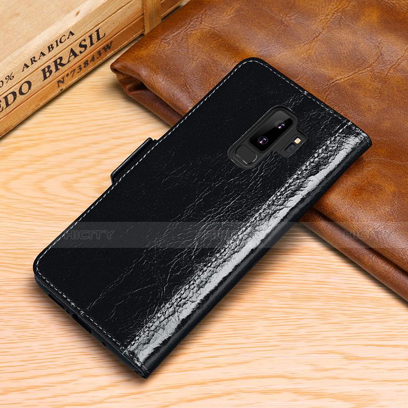 Samsung Galaxy S9 Plus用手帳型 レザーケース スタンド カバー P01 サムスン ブラック