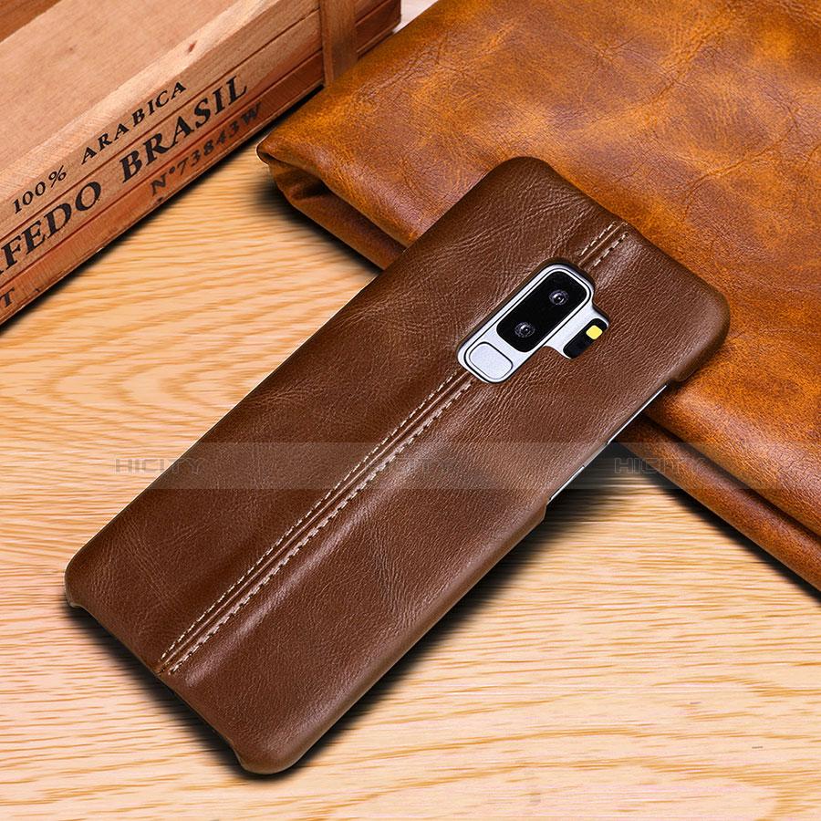 Samsung Galaxy S9 Plus用手帳型 レザーケース スタンド カバー P03 サムスン ブラウン
