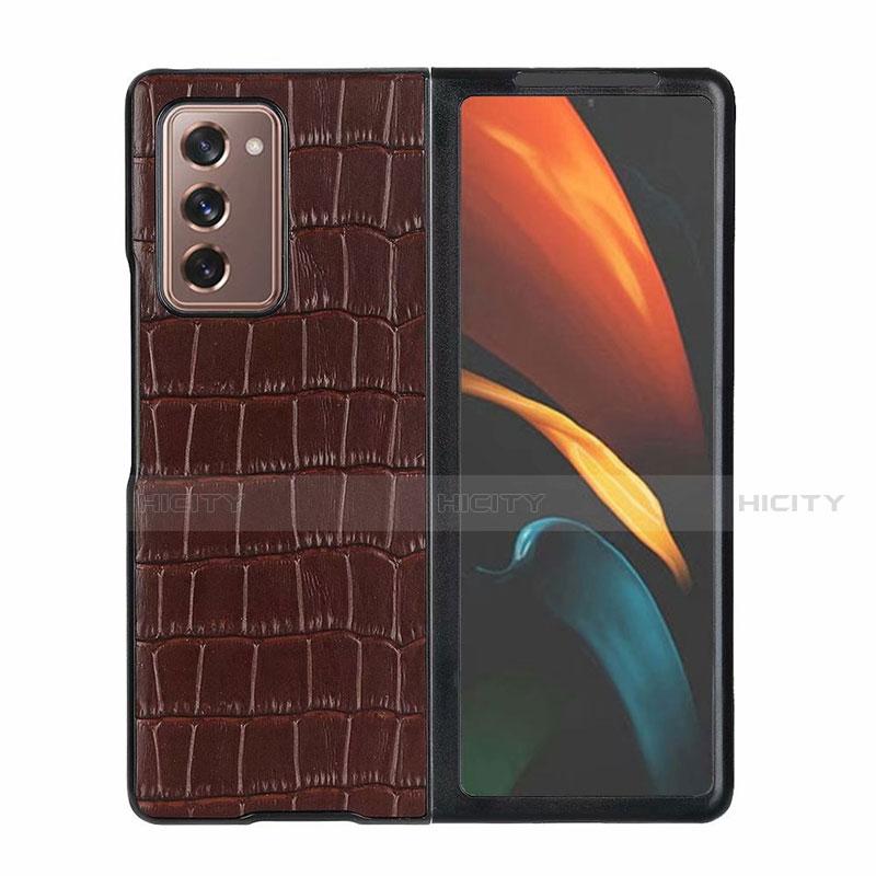 Samsung Galaxy Z Fold2 5G用ケース 高級感 手触り良いレザー柄 S02 サムスン ブラウン