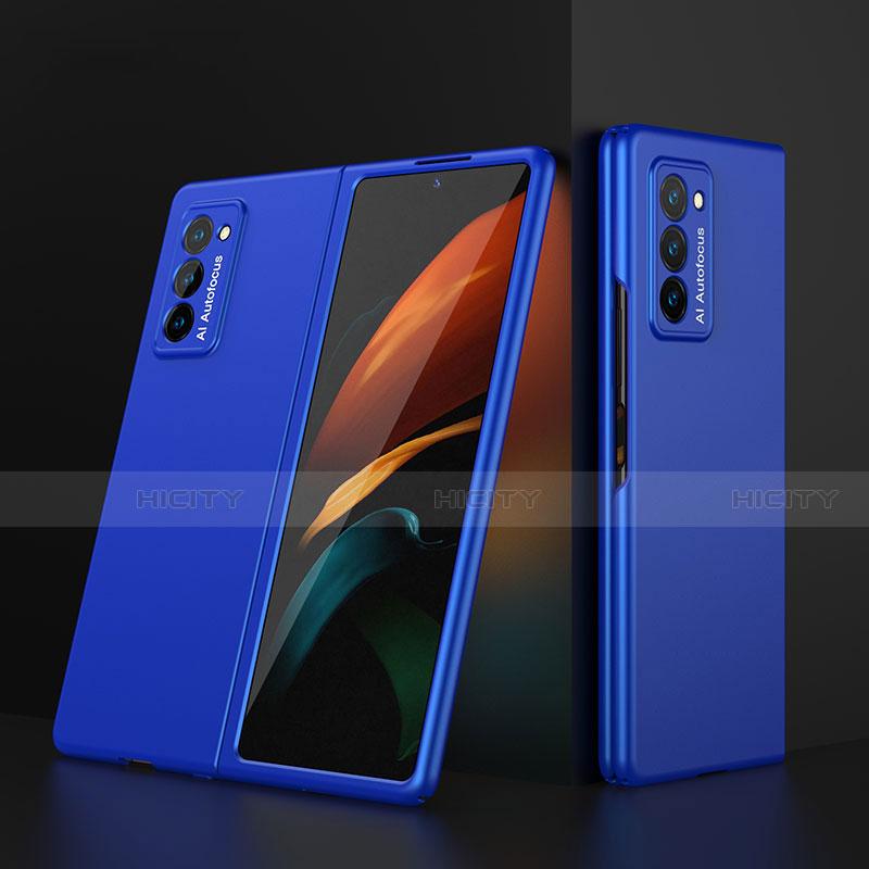 Samsung Galaxy Z Fold2 5G用ハードケース プラスチック 質感もマット 前面と背面 360度 フルカバー サムスン ネイビー