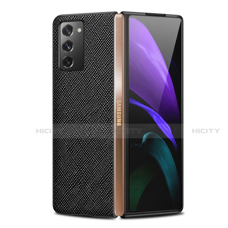 Samsung Galaxy Z Fold2 5G用ケース 高級感 手触り良いレザー柄 S01 サムスン ブラック