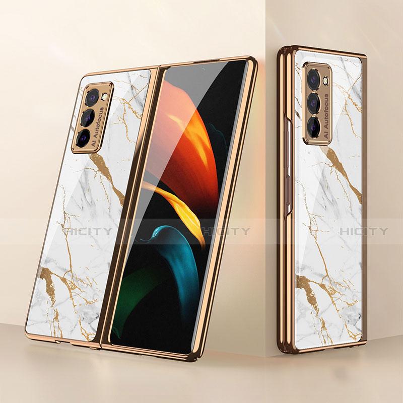 Samsung Galaxy Z Fold2 5G用ハイブリットバンパーケース プラスチック 鏡面 カバー サムスン ホワイト
