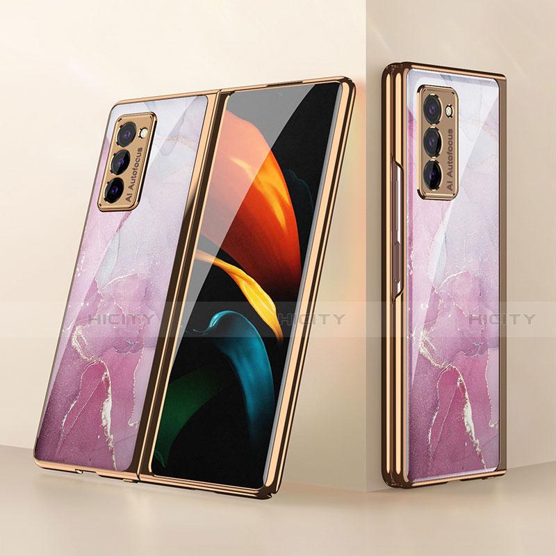 Samsung Galaxy Z Fold2 5G用ハイブリットバンパーケース プラスチック 鏡面 カバー サムスン ピンク