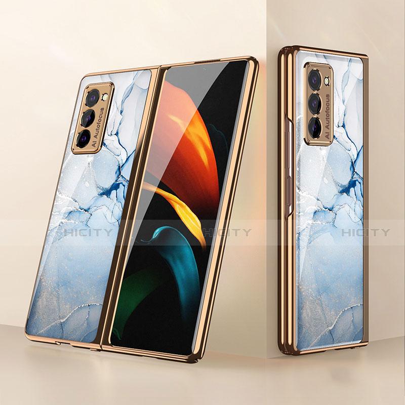 Samsung Galaxy Z Fold2 5G用ハイブリットバンパーケース プラスチック 鏡面 カバー サムスン ライトブルー