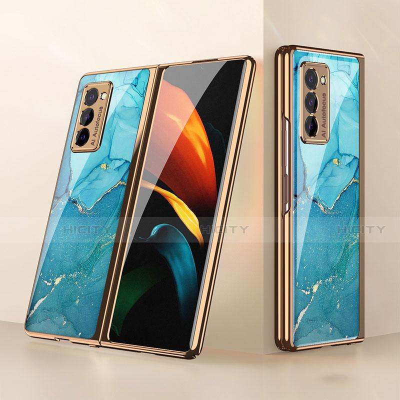 Samsung Galaxy Z Fold2 5G用ハイブリットバンパーケース プラスチック 鏡面 カバー サムスン シアン