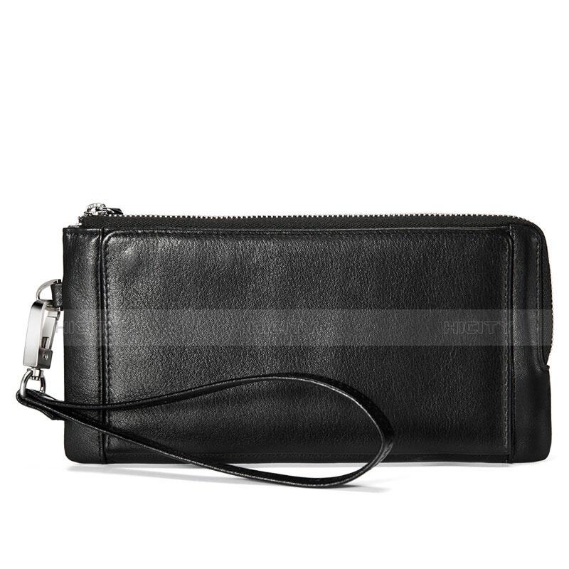 ハンドバッグ ポーチ財布 レザー ユニバーサル ブラック