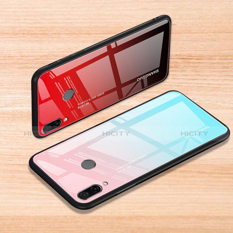 Xiaomi Redmi Note 7用ハイブリットバンパーケース プラスチック 鏡面 虹 グラデーション 勾配色 カバー Xiaomi